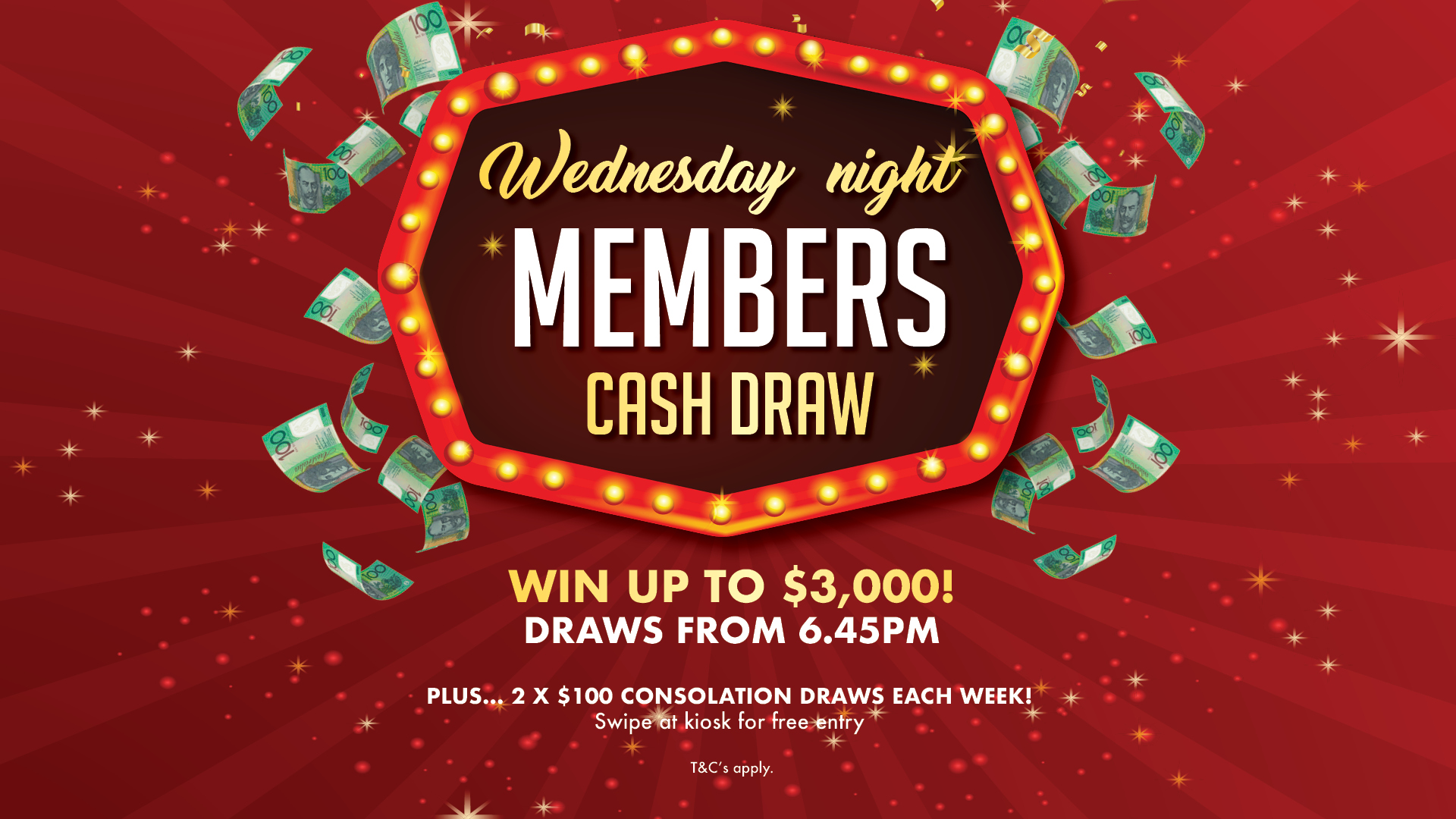 Wednesday Night Members Cash Draw at Gympie RSL
